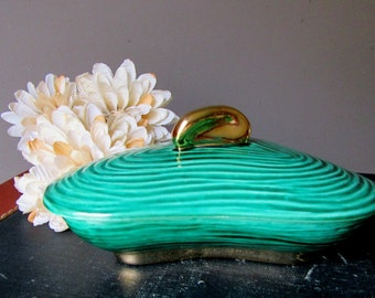 Mid Century Dick Knox  California Pottery Free Form Trinket Dish With Lid Emerald Green Gold Accents Signed  Lidded Box Dish Ceramic