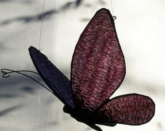 Butterfly, Stained Glass, Hanging 3-D Suncatcher, Original Design, Leaded Art Glass, Butterflies, Soul Symbol, Feng Shui Art, Sun Catcher