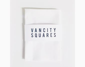 White pocket square, with custom thread.