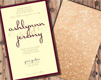 Champagne and Burgundy Wedding Invitations Maroon Wedding