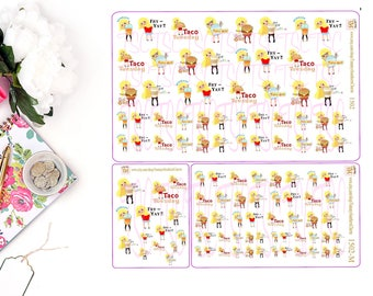 FOOD STICKERS -  Food, Stickers, Food Stickers, planner stickers, Kawaii Stickers, Reminder Stickers, Eat Out Stickers, Taco Tuesday,