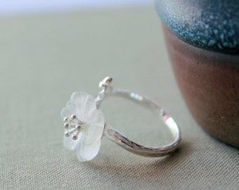 Plum sterling silver open ring