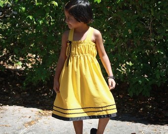 Girls Yellow Dress, Girls Cotton Dress, Girls Summer Dress, Girls Spring Dress