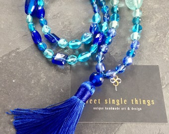 Mala chain, necklace, mala, necklace, yoga, yogastyle, necklace, blue, sea, relaxation, meditation, ocean, CUPL, Easter, Gift