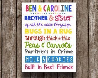 Sibling Wall Art - Printable - Brother and Sister - Playroom Decor - Customized - Kids Room - Twins - Nursery - Girls - Boys