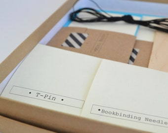 Green & Black Bookbinding Kit, Make 2 Basic Soft Cover Notebooks plus 1 Mini Book