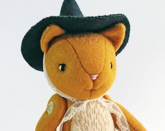 Halloween Decor Felt Kitty Doll, Witch Ginger Cat Plush, Made to Order Cute Yellow Orange Cat Fell Plushie, for Cat Lovers