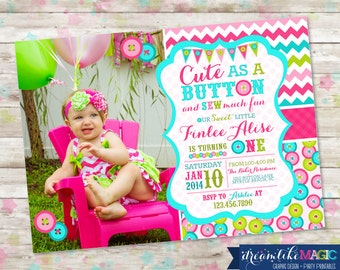 Cute as a Button Birthday Photo Invitation Sew Sweet Invite with Buttons Chevron Pink Printable DIY