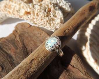 White Synthetic Fire Opal Sterling Silver Ring