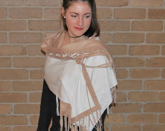 Remake  with Popular Demand High Fashion Wrap/Cloak/Shawl/Stole/Scarf/Gift/Silk Cashmere coffee-creme suede /tassles.