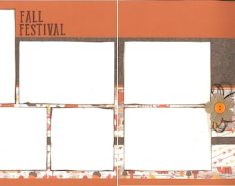 12x12 FALL FESTIVAL scrapbook page kit, premade scrapbook, 12x12 premade scrapbook page, premade scrapbook page, 12x12 scrapbook layout