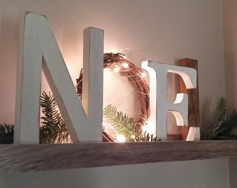Noel Letters, Noel Wreath Sign, Christmas Decor, Mantle Decor, Christmas Gift,  Noel Sign With LIGHTS