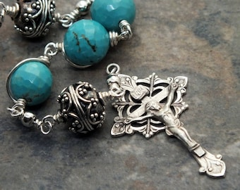 Turquoise and Sterling Silver Three Hail Mary's Chaplet, Gemstone Chaplet, Heirloom Chaplet, Catholic Chaplet, 3 Hail Mary's Chaplet