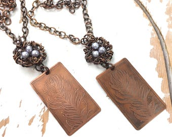 Wing and a Prayer - Nesting Necklace in Copper & Pearls