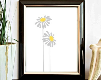 Instant Download - Grey and Yellow Flower / Floral Printable - Wall Art -Decor Poster