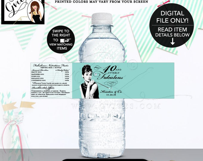 """Water Labels Breakfast at Birthday Party, 40 & Utterly fabulous, Audrey Hepburn 40th birthday printable. {8x2""""/5 Per Sheet} Gvites"""