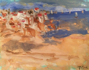 Seaside village seascape painting, ocean scene, Mediterranean  abstract seaside art in blue ocean,  Russ Potak Artist