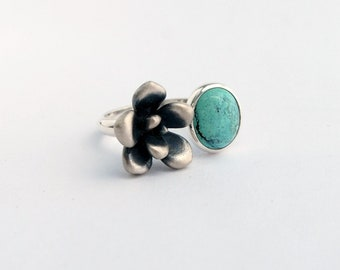 Succulent and turquoise ring - sterling silver succulent plant turquoise cabochon ring one of a kind