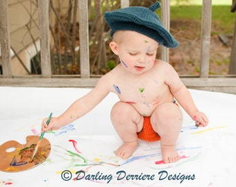 Baby Artist Hat and Diaper Cover Crochet Pattern INSTANT DOWNLOAD PDF