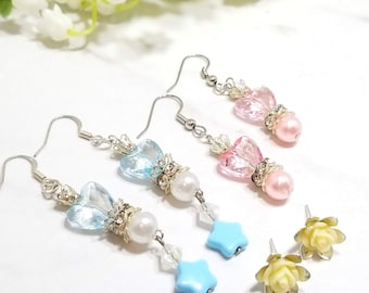 Rose Floral earring set of three (pastel pink/blue/ivory)