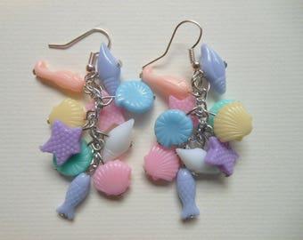 Pastel Sea life earrings. Fairy Kei, Kawaii, Pastel Goth, Harajuku