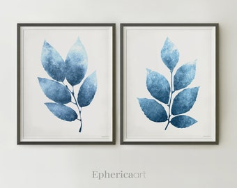 Dark Blue Plants Posters Set Of 2 Downloadable Print Botanical Art Navy Blue  Wall Decor Posters