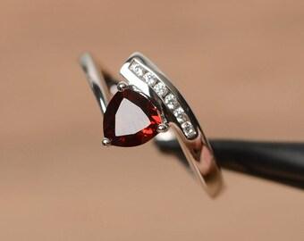 natural red garnet ring garnet  wedding ring January birthstone trillion cut red gemstone sterling silver ring