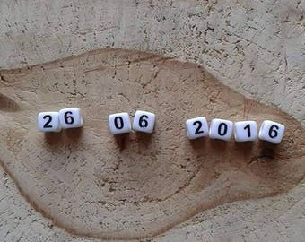 8 date numbers white square beads 6mm acrylic