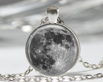 Full Moon Necklace Astronomy Jewelry Solar System Outer Space Art Pendant with Ball Chain Included