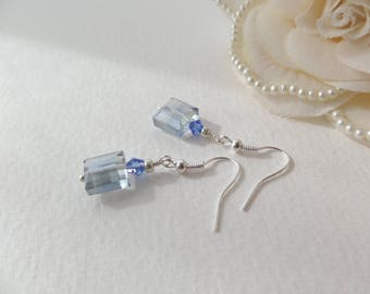 Blue Earrings, Silver Crystal Earrings, Light Cyan Blue, Cushion Square faceted crystal with sapphire blue, hooks.