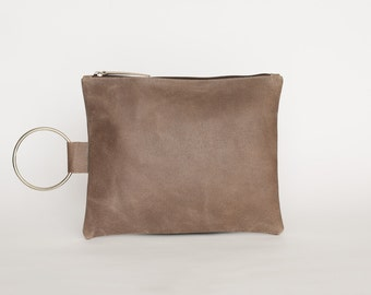 Small Leather Hand Bag, Leather Wristlet, Handmade Purse with Bracelet Handle, Small Leather Purse, Evening Clutch