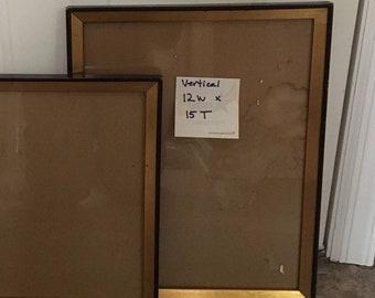 Vintage Vertical Wooden Picture Frames/black with gold trim/gift