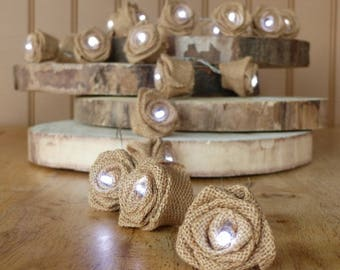 Led Garland with burlap flowers