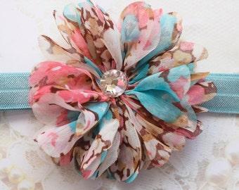 Pink Flower Headband, Aqua Flower Headband, Aqua Headband, Pink Headband, Blue Headband, Pink & Blue Headband, Baby Headband, Girls Headband