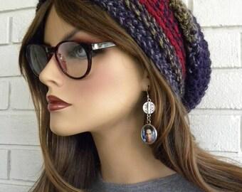 Crochet chapeau, tuque violet, infini écharpe femme, foulard, chapeau d'hiver Multi couleurs, les femmes, ensembles