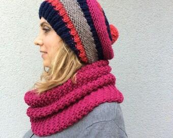 Fushia, Blue, Gray Pom-pom Slouchy Hand Knitted Beanie Hat and Neck Warmer Scarf for Winter ,Wool Yarn Pompom Christmas Gift, Xmas Present