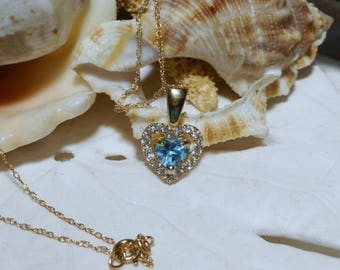 10k Swiss Blue Topaz and White Sapphire Necklace Heart Motif