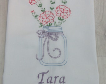 Personalised Embroidered Kitchen Tea Towel - Carnations in Mason jar
