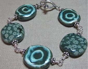 SALE Dark Green Kazuri Bead and Bali Silver Wire-Wrapped Bracelet - B098