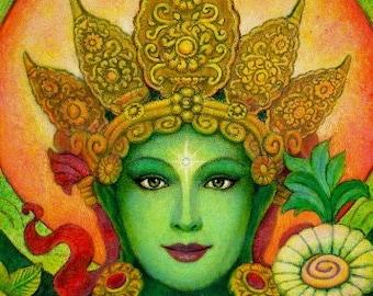 Green Tara Buddha poster spiritual art Buddhist Goddess meditation PRINT of painting by Sue Halstenberg