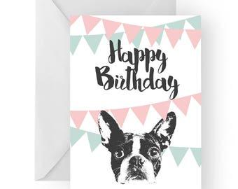 French bulldog blank birthday card- Bulldog greeting card, dog card, French Bulldog birthday card, cute dog birthday card, Birthday card
