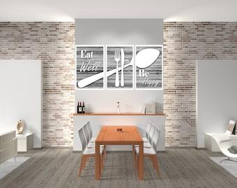 Eat Well Be Happy, Kitchen Wall Art, Kitchen Decor, Kitchen Print, Modern Kitchen Decor, Shabby Chic Decor, Shabby Chic, Modern Kitchen Art