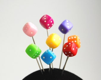Colorful Dice Pins - Set of 8  x-tra long
