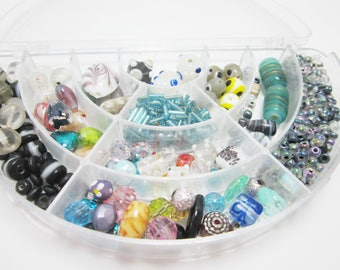 Bead Destash Lot, Lampwork, Seed Beads, Mix Colors, Mixed Beads, Container Included, 3980