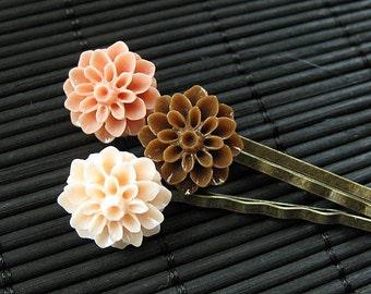 Decadent Dessert Inspired Mum Bobby Pins in Brown, Pink and Cream. Handmade Hair Accessories.