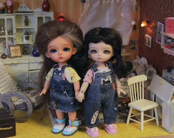 PREORDER Jeans outfits overalls & sundress for 16 cm bjd doll Lati Yellow, Pukifee, Luts, Aquariusdoll, Irrealdoll dress