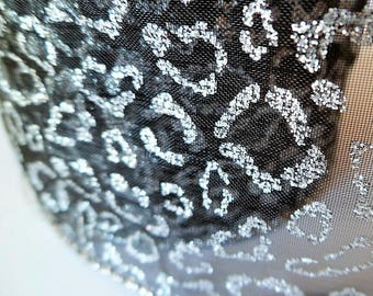 Black and silver wide ribbon with leopard print