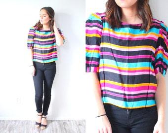 Vintage retro 80's Black rainbow striped blouse // striped shirt // nautical stripe boho shirt // spring striped puffy sleeve blouse