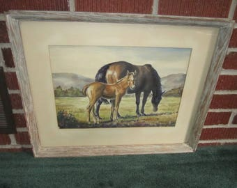 Vintage Mid Century Original Framed Signed Horse Painting Bay Mare with Foal