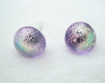 Dichroic Fused Glass Post Earrings, Lavender sparkle, Studs, Nickle Free Hypoallergenic Stud Earrings, Made in Montana